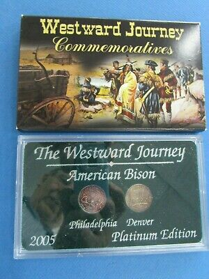 US 2005 Westward Journey Commemorative American Bison PLATINUM  Edition 2 Coin S