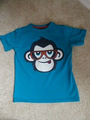 Boys Next Blue Top with Monkey Picture Age 8 Years
