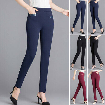 Womens High Waist Pants Skinny Slim Fit Leggings Casual Office Stretchy Trousers