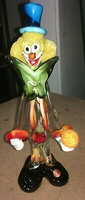 Vintage Murano Art Glass Italian Clown 12 3/4""