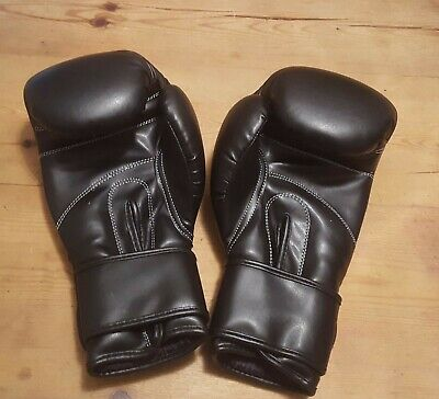 Black Boxing Gloves Punch Bag Training Mitts MMA Rex Leather 12oz