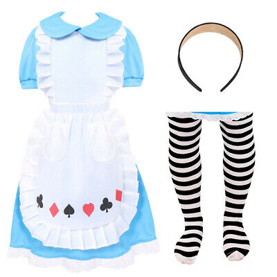 Girls Alice Costume Fairytale Book Week Character Childs Princess Fancy Dress