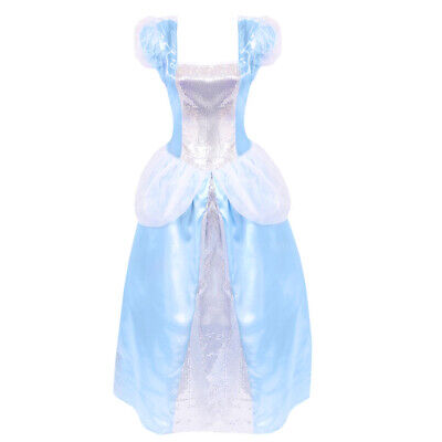 Ladies Blue Princess Dress Costume Storybook Fairytale Ball Adults Fancy Dress
