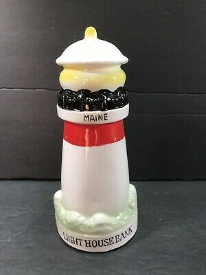 Vintage Maine Ceramic Lighthouse Bank With Stopper