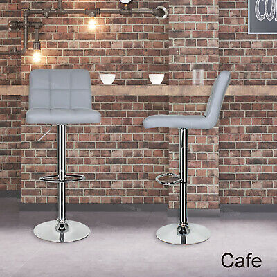 2 X Bar Stools Faux Leather Kitchen Breakfast Barstools Grey Gas Lift Swivel