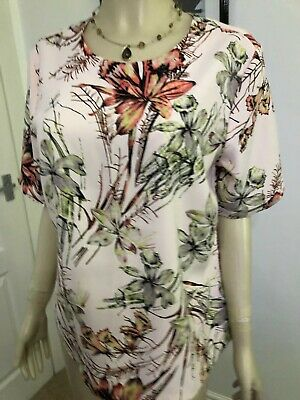 Marks & Spencer Autograph Size 12 Pale Pink Floral Summer Top Excellent Cond.