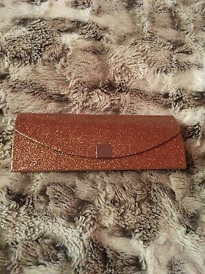 Designer KYLIE MINOGUE Gold Glittery Glasses Case And Black Cleaning Cloth. New