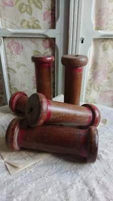 BATCH 5 SUPERB ANTIQUE FRENCH SILK MILL OR COTTON MILL SPOOLS REELS 19thC