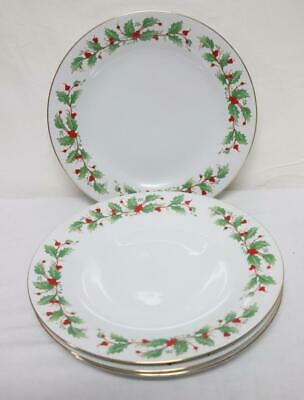 4 China Pearl Fine China NOEL Dinner Plates Holly & Berries Christmas Nice