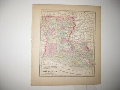 Early Rare Antique 1857 Louisiana Handcolored Map Railroad New Orleans Superb Nr