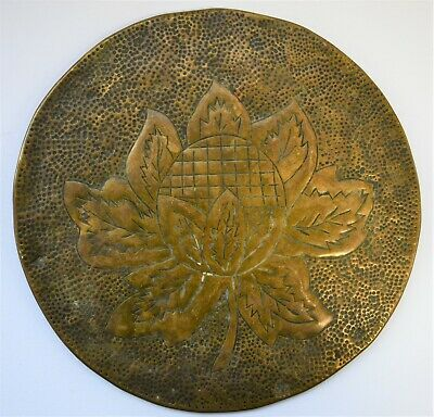 Antique Arts and Crafts Brass Teapot Stand - 18cm in diameter