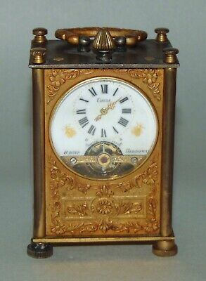 ANTIQUE Miniature CARRIAGE CLOCK Swiss Movement HEBDOMAS Needs TLC