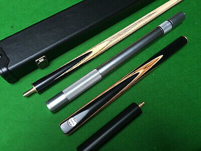 Handmade 3/4 Jointed Ebony Ash Snooker / Pool Cue + Case + Extension