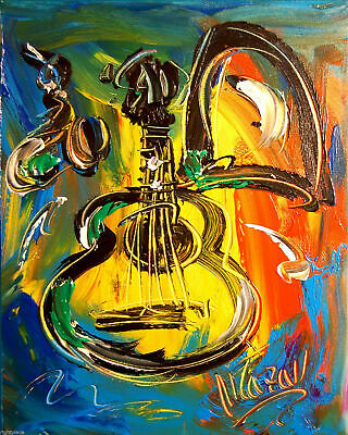 JAZZ GUITAR  ART CANVAS IMPRESSIONIST IMPASTO ARTIST  Original Oil Painting