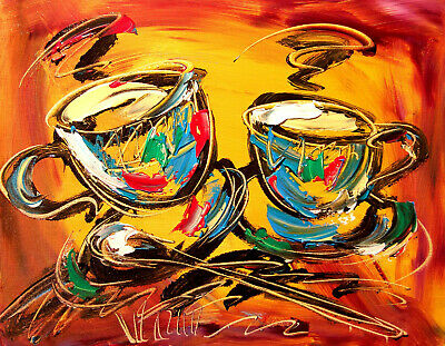 COFFEE FOR TWO  POP ART Abstract Modern Original Oil Painting UP98YY