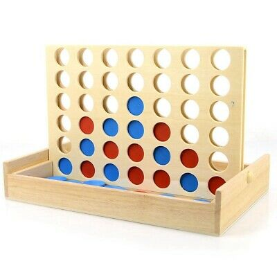 Four In A Row Wooden Game Line Up 4 Classic Family Toy Board Game For Kids  N6N9