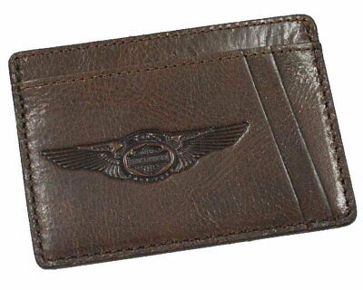 Harley-Davidson® 110th Anniversary Front Pocket Wallet Leather Brown Credit Card