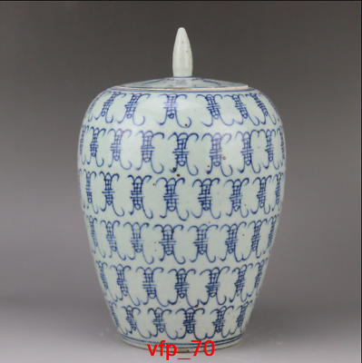 China antique Qing Dynasty Blue and white Baishou pattern Small Tea Cans a2846