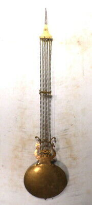 Brass Large 39 Inch French Morbier Clock Pendulum With Twisted Metal Insert Rods