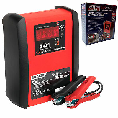 Sealey Intelligent Speed Charge Car/Van Battery Charger 15 Amp 12V Heavy Duty