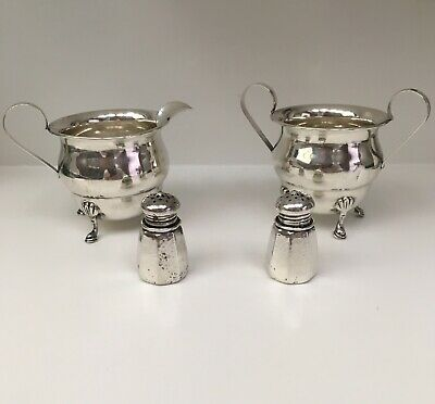 Antique Sterling Silver Creamer And Sugar Bowl With S&P Shakers