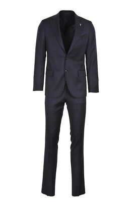 Trussardi Suit Men's 46  Dark-blue Slim  Pinstripe US Size 36