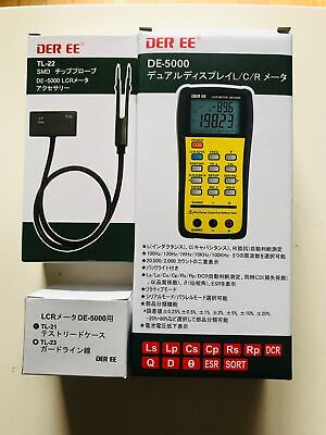 DE-5000 Handheld LCR Meter with TL-21 TL-22 TL-23 and AC//DC Adapter F//S DER EE