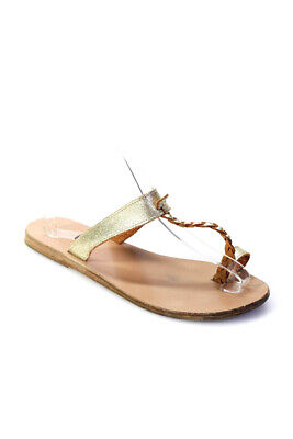 Ancient Greek Sandals Womens Open Toe Braided Strap Sandals Gold size 38 8