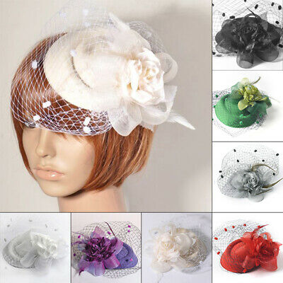Women Ladies Flower Fascinator Hat Cocktail Headband Hair Clip Wedding Party New