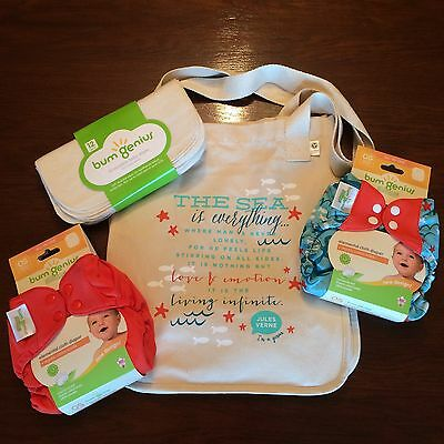 Bumgenius Goodie Bag Lot W/ Wipes Jules & Sassy Elemental E2 Cloth Diapers