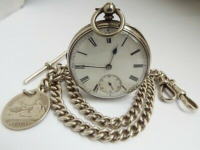 Lovely Working English Antique 1896 Sterling Silver Pocket Watch & Double Albert