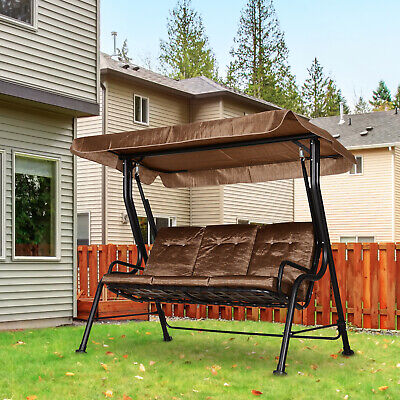 Outsunny 3 Seater Outdoor Garden Swing Chairs Padded Seat Hammock Canopy - Brown