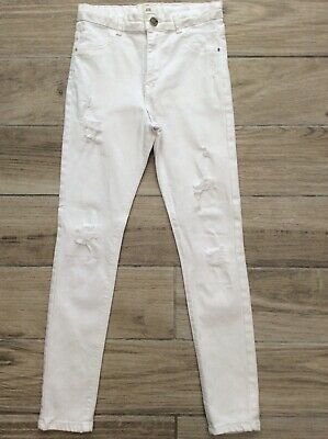 Girls River Island White Jeans Age 12 Years Skinny Fit Adjustable Waist