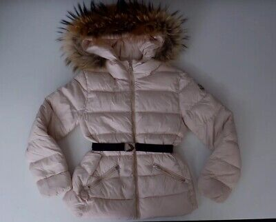 Moncler Pink Down Jacket Coat Size 140cm Age 10 Years Fur Hood Trim