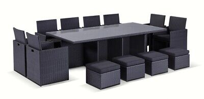 NEW Mirage 8 Seater Outdoor Wicker Dining Table And Chairs Setting With Ottomans
