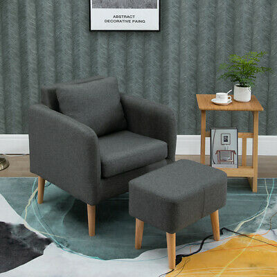 Modern Fabric Tub Chair Armchair Sofa w/ Footstool for Living Room Reception #1