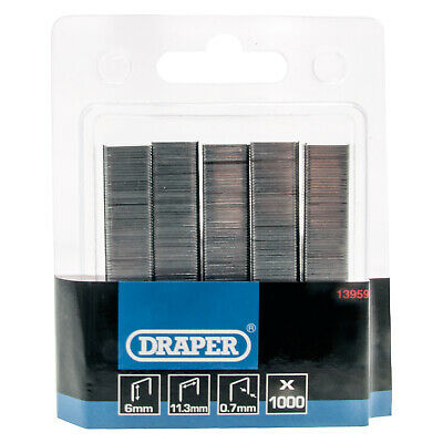 1000 Draper 13959 6mm Steel Staples for the Stormforce 15636 Stapler/Tackers