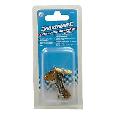Silverline Brass Wire Brush Set Fits Dremel Craft Hobby Metal Rotary Drill Tool