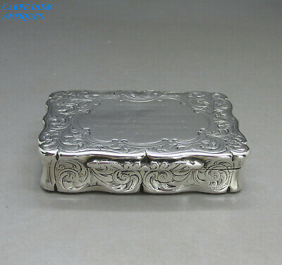 ANTIQUE VICTORIAN GOOD SOLID STERLING SILVER BRIGHT CUT SNUFF BOX 84g BIRM 1856