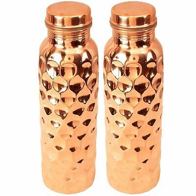 Diamond Design Hammered Pure Copper  Water Bottle,950 ml Capacity Tableware