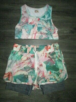Girls Next Green/Pink Cropped Top /Shorts Set Age 10 Yrs Vgc