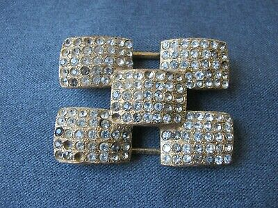 Vintage large & heavy clear rhinestones golden metal sliding belt ornate
