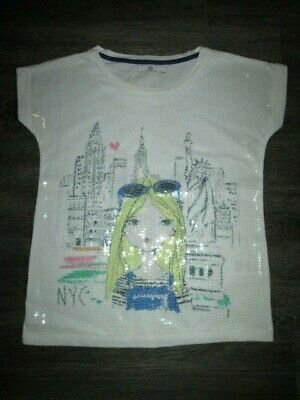 Girls Marks & Spencer White Sequinned Nyc Top Age 8-9 Yrs Vgc