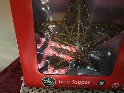 Star Tree Topper Small Gold Filigree Wire Christmas 10 lights