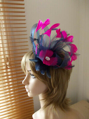 Navy Blue & Cerise Hot Pink loop fascinator feathers diamante hair clip