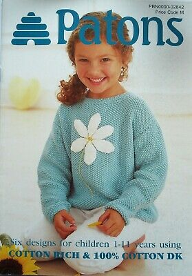 Patons Knitting Book 02842 - 6 Children's  Designs  - Knitted In Cotton  Dk Yarn