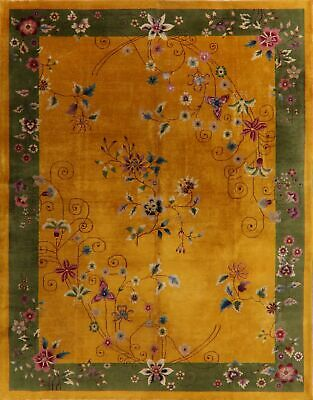 Antique Butterfly Flowers Art Deco Nichols Chinese Oriental Area Rug Gold 9x12