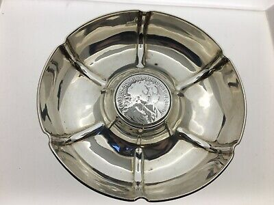 Sterling Silver Ashtray Dish 1913 set with William III Silver Half Crown 1689