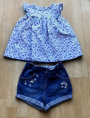 Girls summer outfit set top & denim shorts Age 5-6 Years