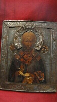 Antique Russian Icon st. Nikolas 19 cen